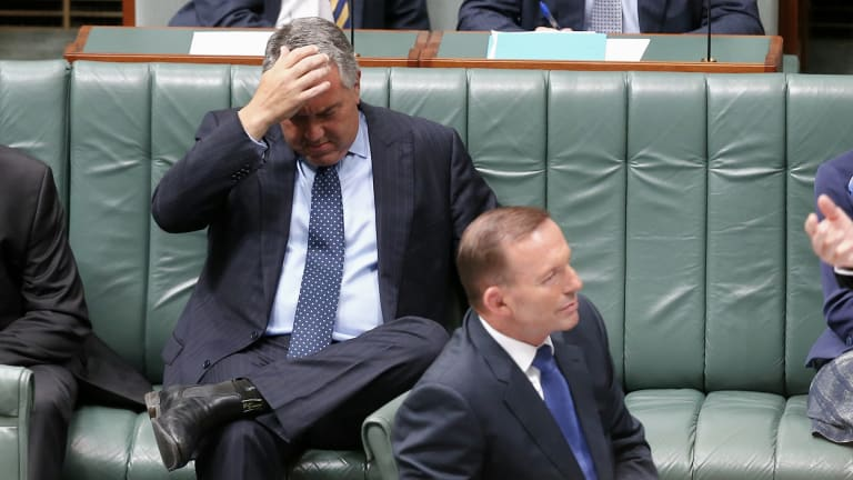 Treasurer Joe Hockey and Prime Minister Tony Abbott during Question Time at Parliament House in Canberra on Tuesday.