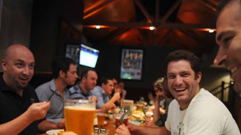 Expectant fathers get together for a Beer and Bubs session at the Limerick Hotel in South Melbourne.
