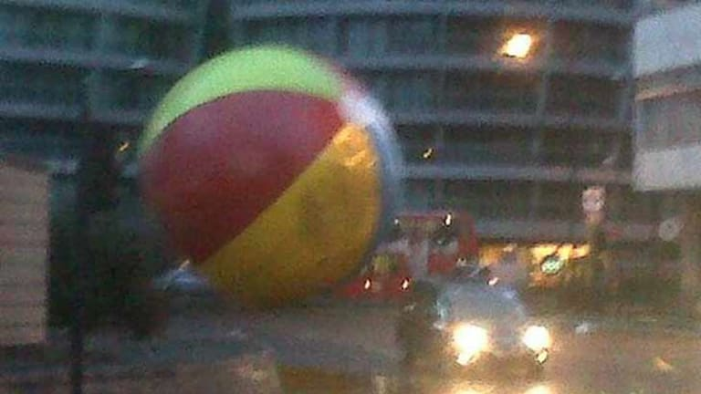 On the loose: a giant beach ball in London.
