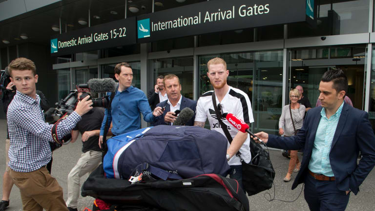 Heavy baggage: England cricket star Ben Stokes arrives in New Zealand, apparently to visit family, but his luggage added to that story.