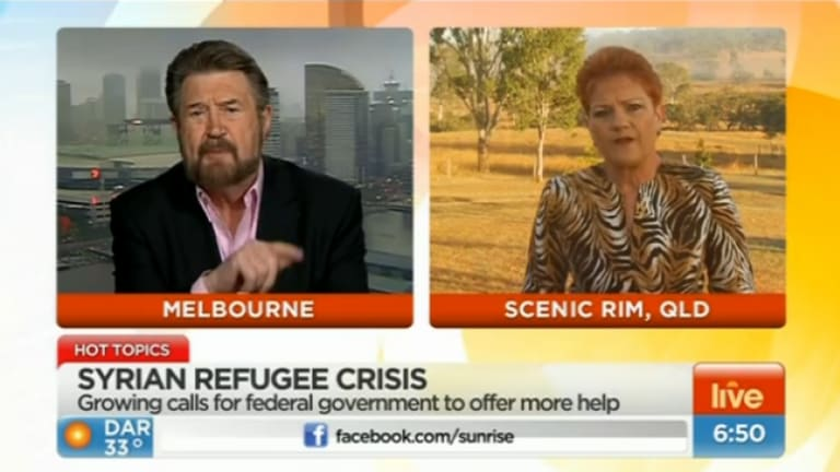 War of words: Commentator Derryn Hinch and right-wing politician Pauline Hanson debate Australian refugee policy on Sunrise.