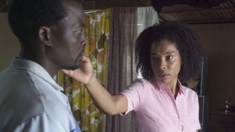 Tony Kgoroge as Petrus and Sophie Okonedo as Sandra in <i>Skin</i>.