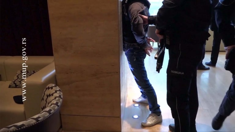 Three Australians were arrested in the foyer of a Belgrade hotel, accused with importing cocaine into Australia.