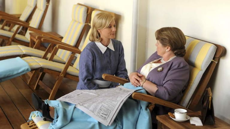 More past mores, please: Stars Marta Dusseldorp and Noni Hazlehurst revisit post-WWII Australia in Channel Seven's <i>A Place to Call Home</i>.