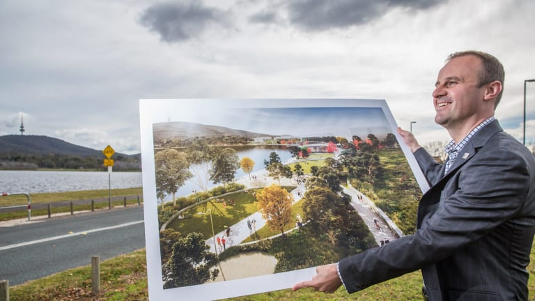 Chief Minister Andrew Barr at the announcement of the first stage of the West Basin transformation, part of the long-term city to the lake strategy.