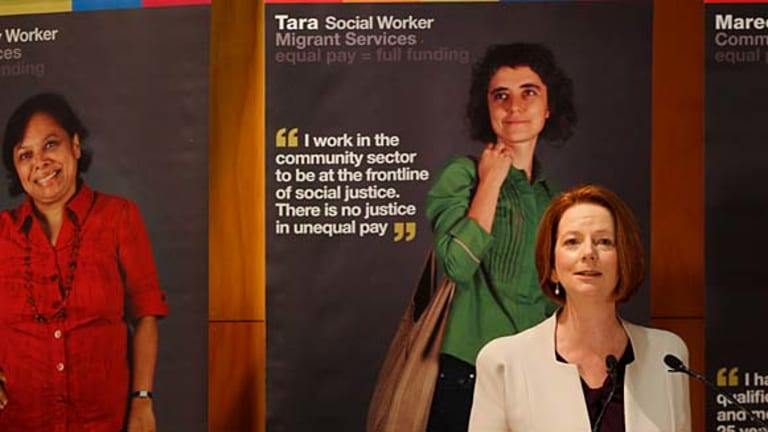 Prime Minister Julia Gillard addresses community workers at Sydney's Techology Park to announce funding plans for underpaid workers.