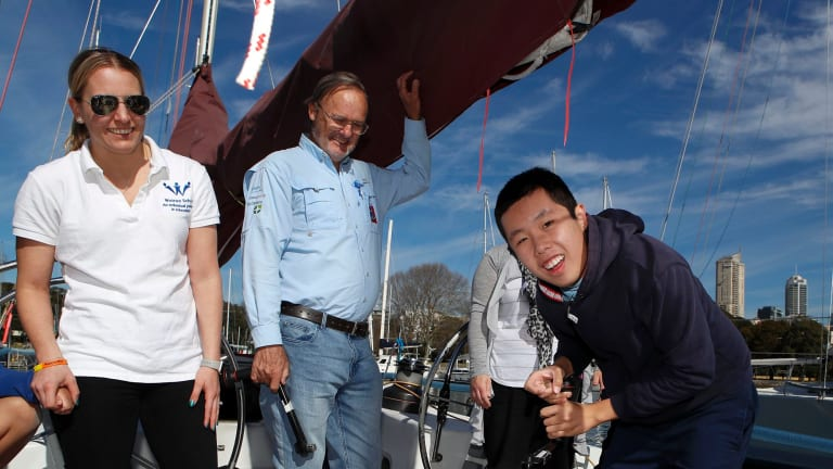 Sailors with DisABILITIES member Hao Nguyen prepares to sail to northern NSW.