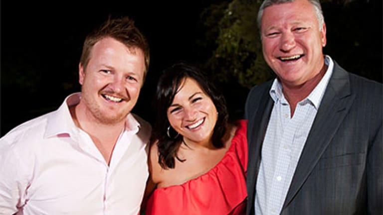 Grand design ... John and Neisha Pitt with The Block host Scott Cam.