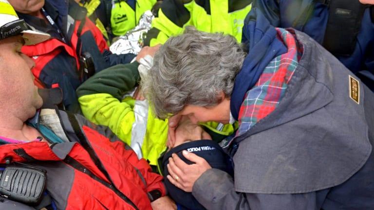 Luke Shambrook's mother Rachel kisses her son.