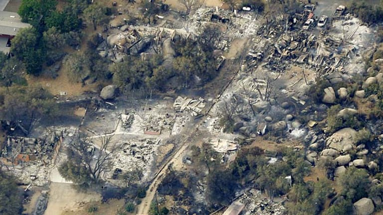Trail of destruction: an aerial view of a section of Yarnell.