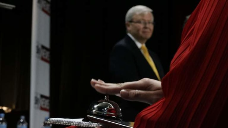 Prime Minister Kevin Rudd at the leaders' debate at the Broncos Leagues Club in Brisbane.