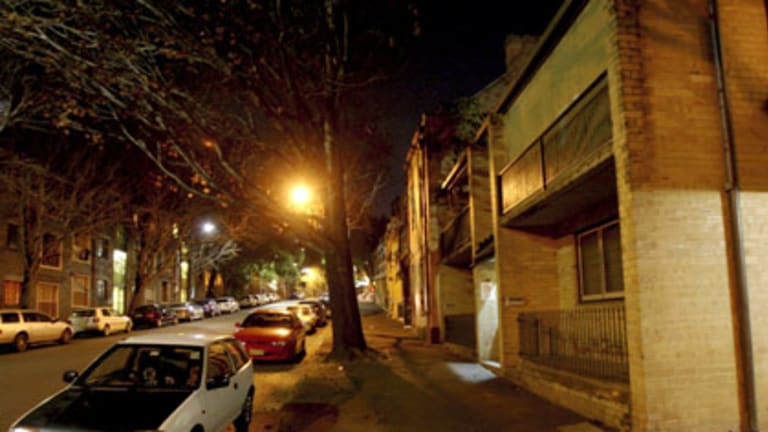 Death row . . . a quiet evening on Dowling Street, Woolloomooloo, where Isaac Dinsdale was murdered by a gang of men and boys.