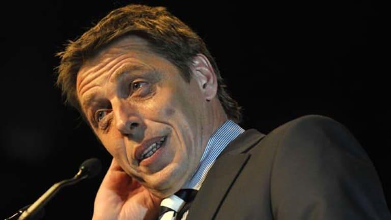 Mark Thompson speaks  at the Geelong football club's best and fairest award night last week.
