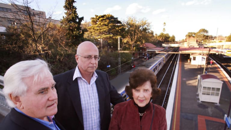 Jack Roach, President of BRAG, Cr. Jack Wegman, Boroondara Mayor and Mary Drost, vice-president Boroondara Residents Action Group BRAG at Camberwell Station.