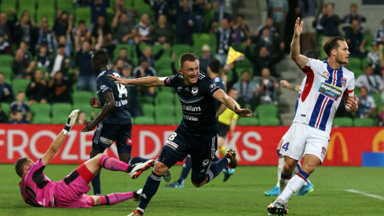 Besart Berisha of the Melbourne Victory scores a goal , but was later called for off side.