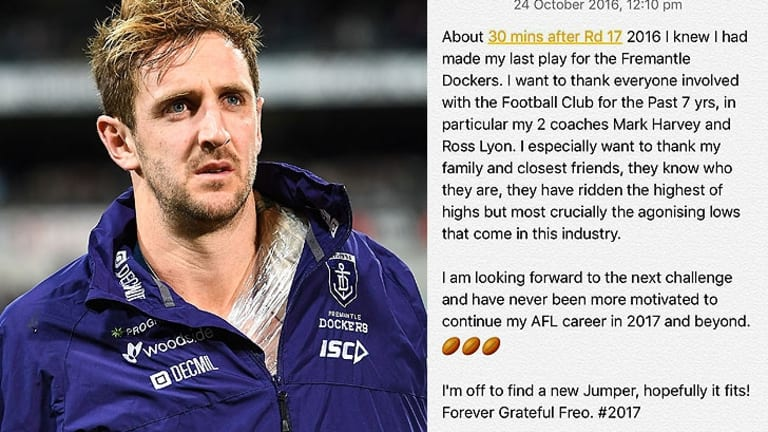Michael Barlow's emotional message upon learning he was leaving Fremantle.