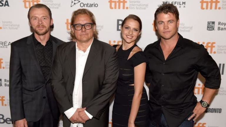 Director Kriv Stenders, second from left, with members of his <i>Kill Me Three Times</i> cast Simon Pegg, Teresa Palmer and Luke Hemsworth at the Toronto International Film Festival.
