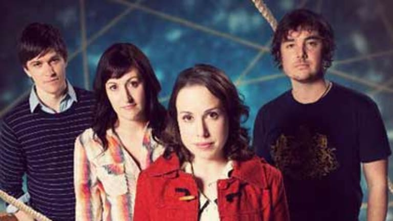 Hardy's new TV series Laid features (from left) Abe Forsythe, Celia Pacquola, Alison Bell and Toby Truslove.