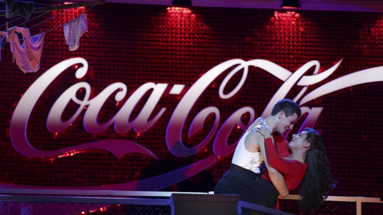 Thomas Lacey and Phoebe Panaretos in <i>Strictly Ballroom</i> at Her Majesty's Theatre.