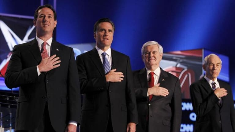 Republican candidates Rick Santorum, Rick Perry, Newt Gingrich and Ron Paul.