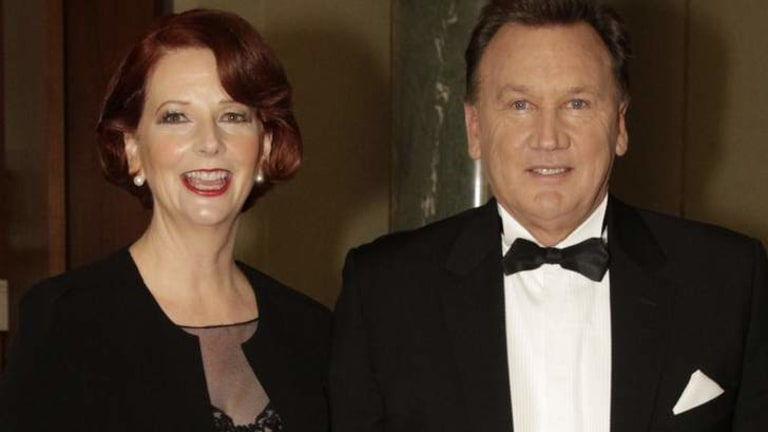 New look: Julia Gillard turned out with partner Tim Mathieson for the Mid Winter Ball sporting a new hairstyle on Wednesday night.