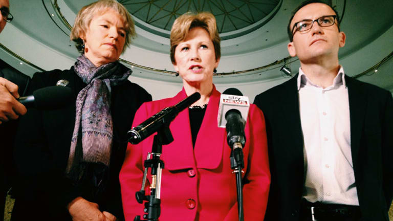 Greens leader Christine Milne, centre launches the party's election campaign ad blitz with Melbourne Greens MP Adam Bandt, right.