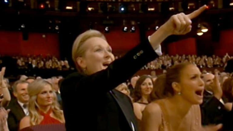 Meryl Streep shouts 'yes' to Patricia Arquette during her stirring acceptance speech.