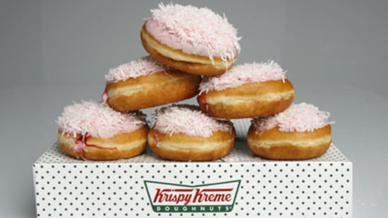 The Iced Dough Vo, a tribute to the famed Iced VoVo and part of a so-called 'Fair Dinkum' range of Krispy Kreme offerings that were designed to lure Australians. The attempt appears to have failed.