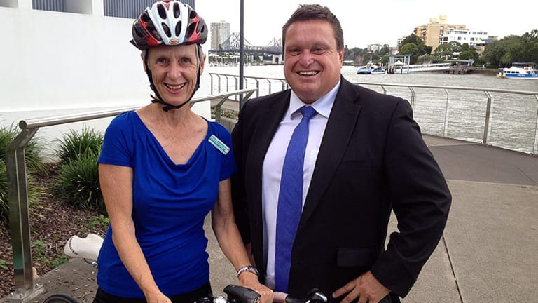 Labor councillor Helen Abrahams and lord mayoral candidate Ray Smith visit East Brisbane to announce their bikeways policy.