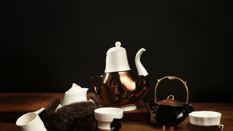 Trent Jansen's <i>Briggs Family Tea Service</i> tells a story about the European colonisation of Tasmania and was made in collaboration with Indigenous artist Vicki West and others.