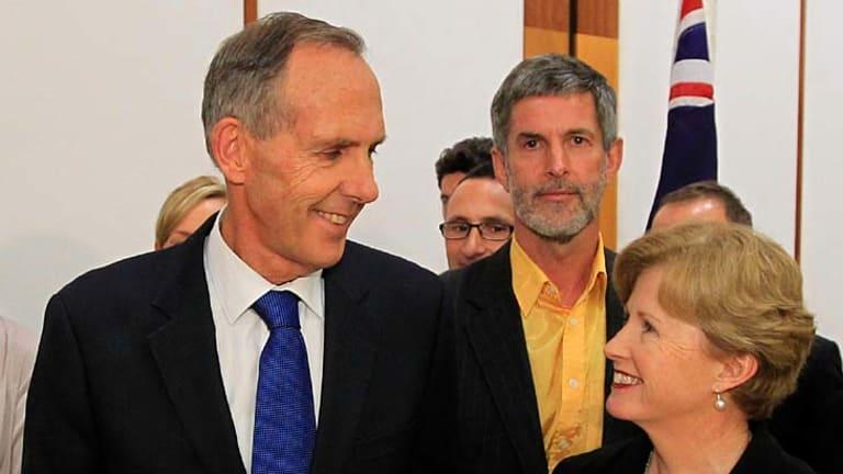 New regime ... former Greens leader Bob Brown, left, with new leader Christine Milne.