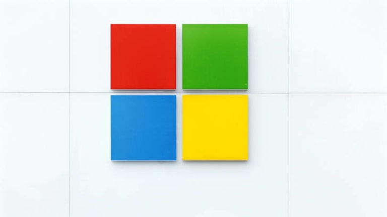 The new Microsoft logo is seen above the entrance to a company store.