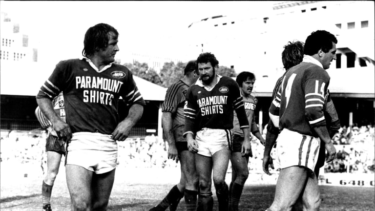 Fierce competitor: Newtown captain Tommy Raudonikis (left) seemingly looking daggers as Ken Wilson (right) comes on as his replacement during a semi-final against Parramatta.