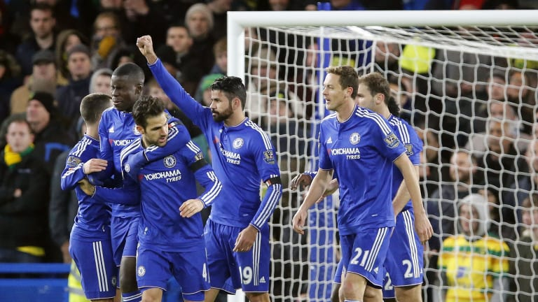 Drought broken: Chelsea's Diego Costa celebrates with teammates after scoring during the English Premier League soccer match between Chelsea and Norwich City at Stamford Bridge.