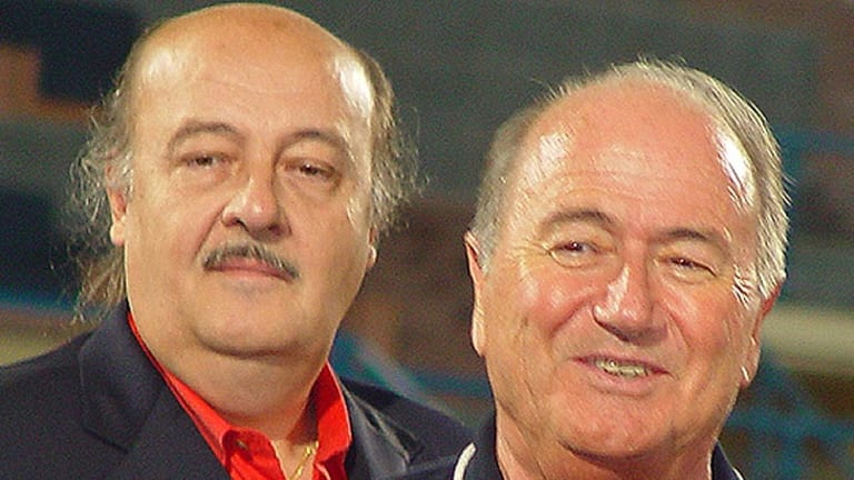 Peter Hargitay, left, with FIFA President Sepp Blatter.