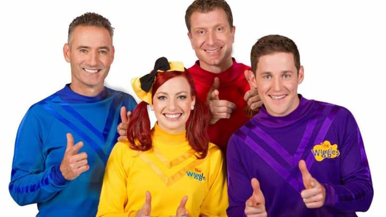 New breed: Original Wiggle Anthony (the Blue Wiggle) with Emma (Yellow), Simon (Red) and Lachy (Purple).