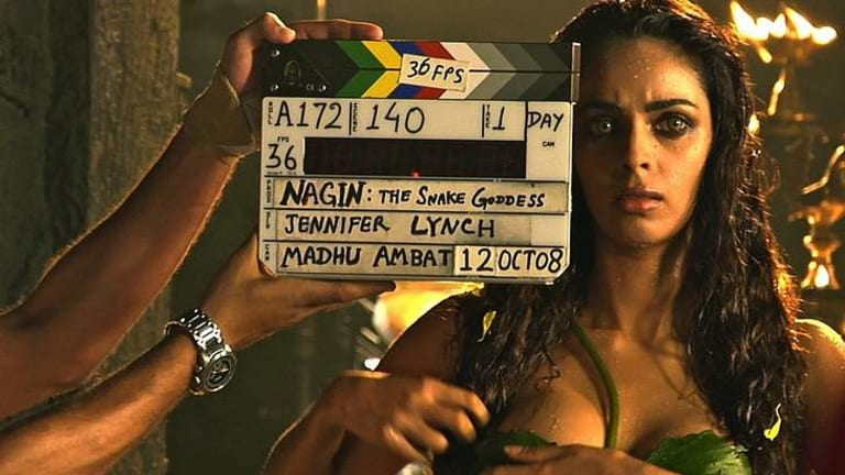 Mallika Sherawat in a scene from the documentary <i>Despite the Gods</i>.