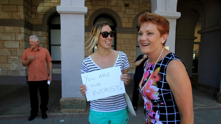 Pauline Hanson on the Hustings in Kalgoorlie. Adelaide woman Kate Wilking couldn't resist the urge to let her feelings towards One Nation be heard while in Kalgoorlie. March 8 , 2017 Photograph by Dean Sewell/Oculi