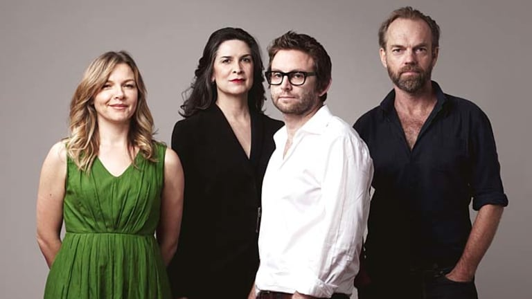 Company man … Sam Strong with the stars of Les Liaisons Dangereuses, (from left) Justine Clarke, Pamela Rabe and Hugo Weaving.
