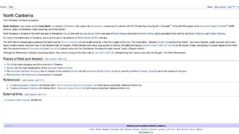 North Canberra's Wikipedia page was edited in a creative manner on Tuesday.