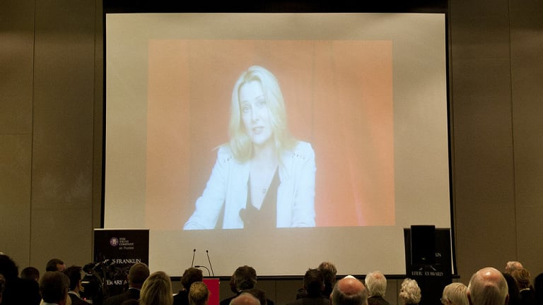 Anna Funder accepts the Miles Franklin literary award at a ceremony in Brisbane via a video from the UK on June 20, 2012.