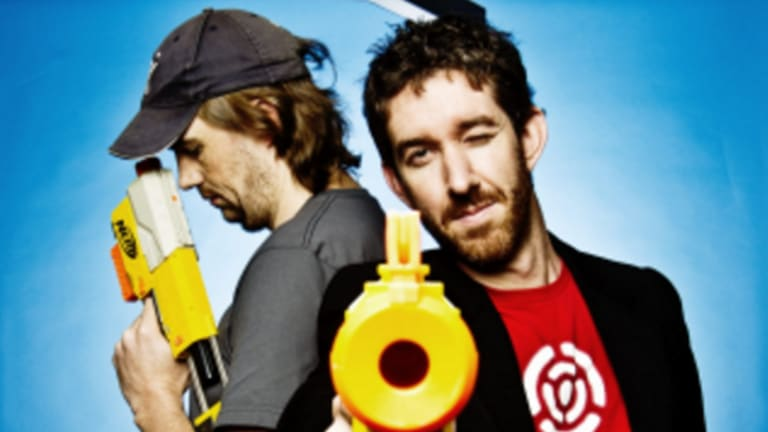 Atlassian co-founders Scott Farquhar (front) and Mike Cannon-Brookes have traded up their real estate fortunes in recent years.