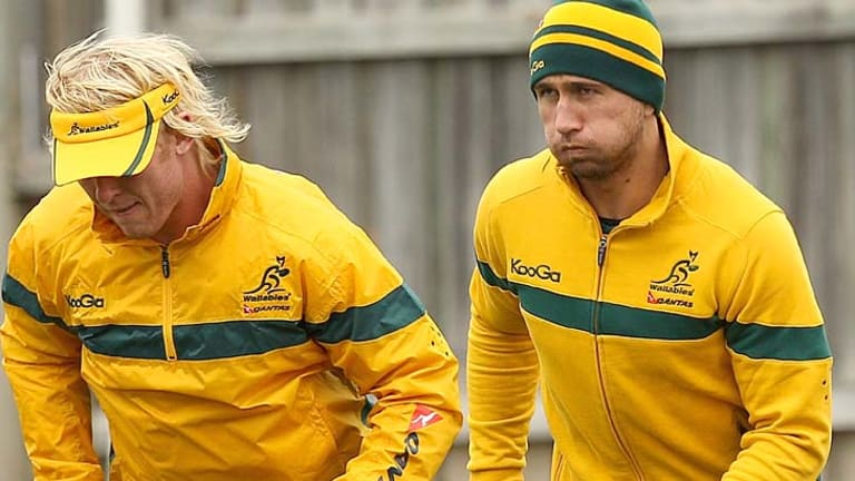 Quade Cooper (R) will boost the Wallabies attack against South Africa on Saturday.