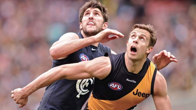 Richmond's Brett Deledio battles with Carlton's Jarrad Waite. No Tigers have been chosen for the All-Australian squad.