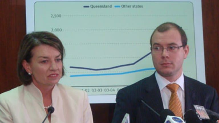 Tough times ... Premier Anna Bligh and Treasurer Andrew Fraser address the media about the state Budget