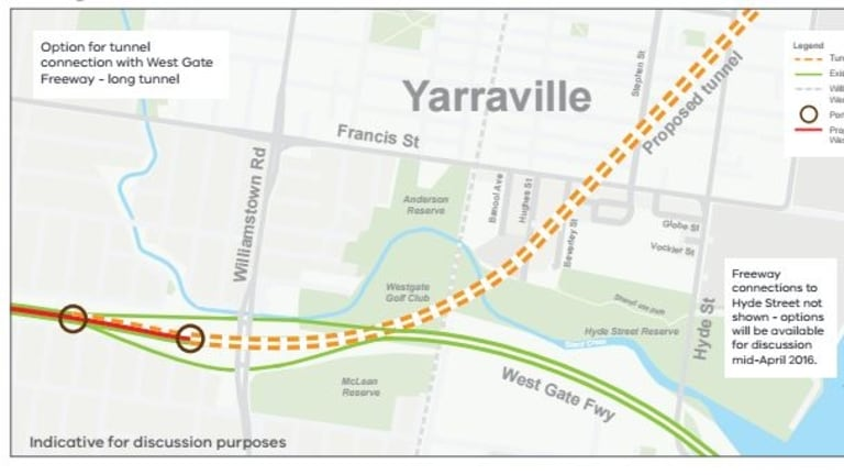 Transurban's first proposal for the Western Distributor tunnel in Melbourne's west.