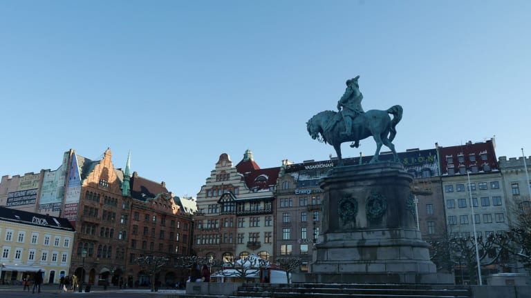 A square in Malmo. The city has problems which are not easily solved.