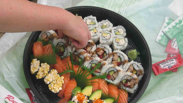 After eating sushi almost daily, a patient turned up at hospital with a plastic grocery bag with his tapeworm inside it.