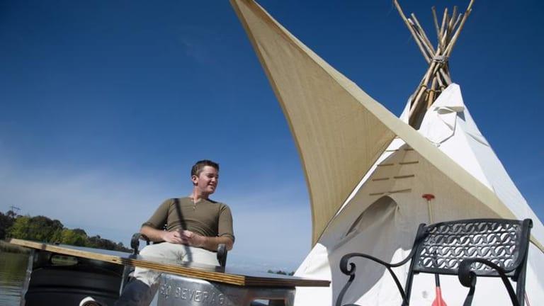 UC Student William Woodbridge has built a teepee and is living on Lake Ginninderra