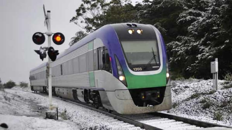Cool runnings: the Ballarat-Melbourne VLocity train passes through a European-looking landscape today.